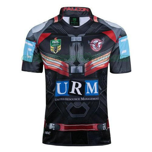 camiseta rugby manly sea eagles 2017-2018 - negro hombre